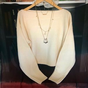 Sweaters - Ivory Scoop neck knit sweater